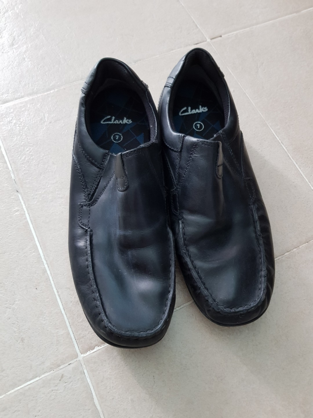 181118b43a8c CHILDREN Black leather Shoes CLARK SIZE 7 FOR SALE