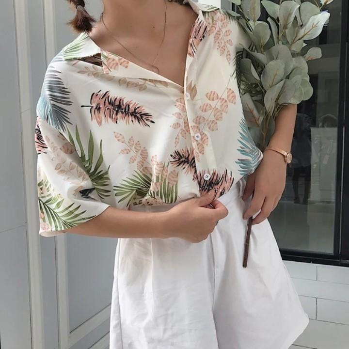6645ca2b89502a BNWT oversized tropical button up shirt tee top t ulzzang korean ...