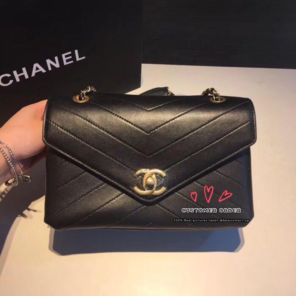 3905ef905b8e97 Chanel Chevron Chic Lambskin Gold-tone Metal Flap Bag A57431, Luxury ...