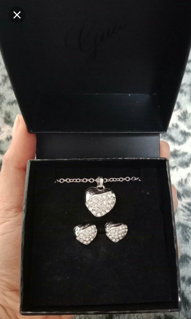 Earring+ Necklace Guess Original