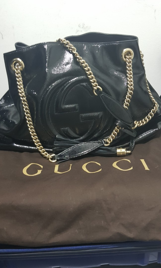 51358a1c1d79e4 GUCCI SOHO Chain Strap Black Leather Tote, Luxury, Bags & Wallets ...