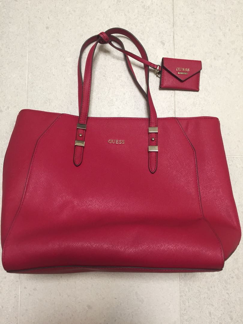 Guess cherry pink red tote hand bag, Women'