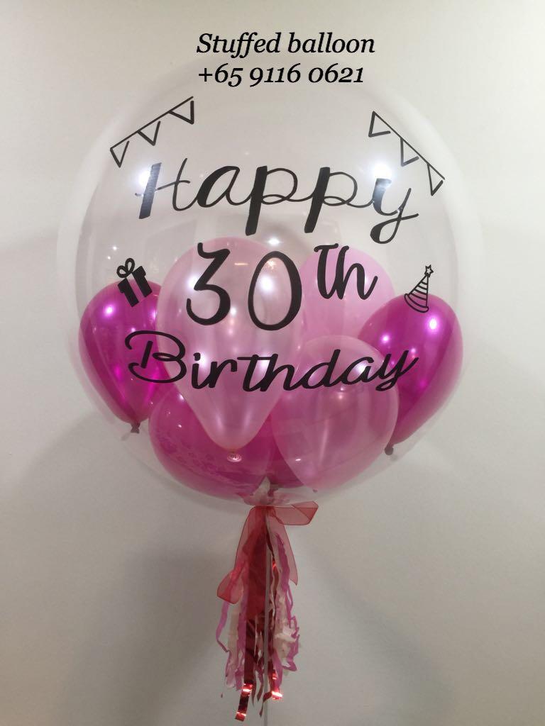 Happy Birthday Balloon 30th 24 Inch Transparent Clear