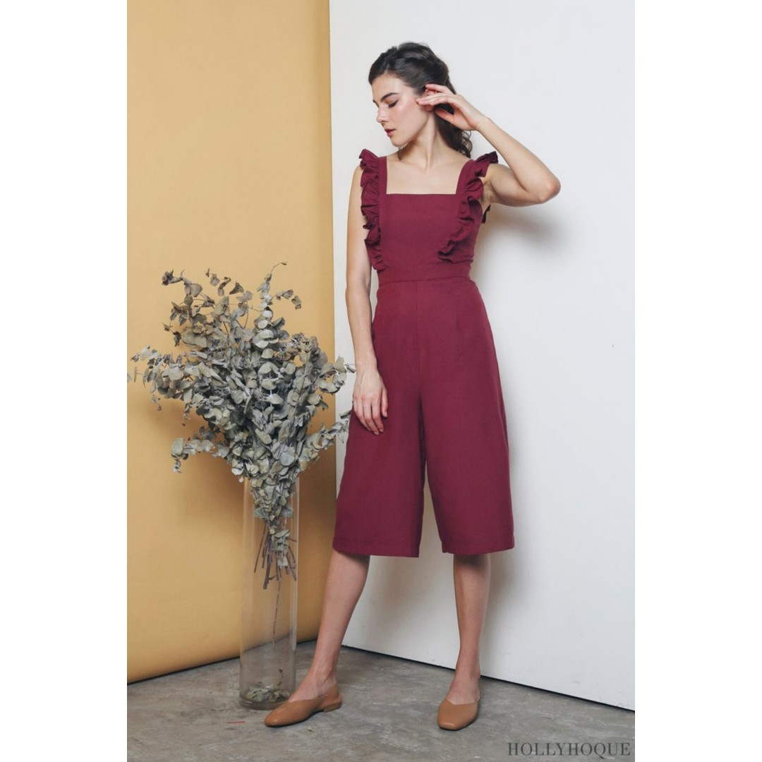 a160728ebcb Hollyhoque Penelope Ruffles Jumpsuit in Wine Size S