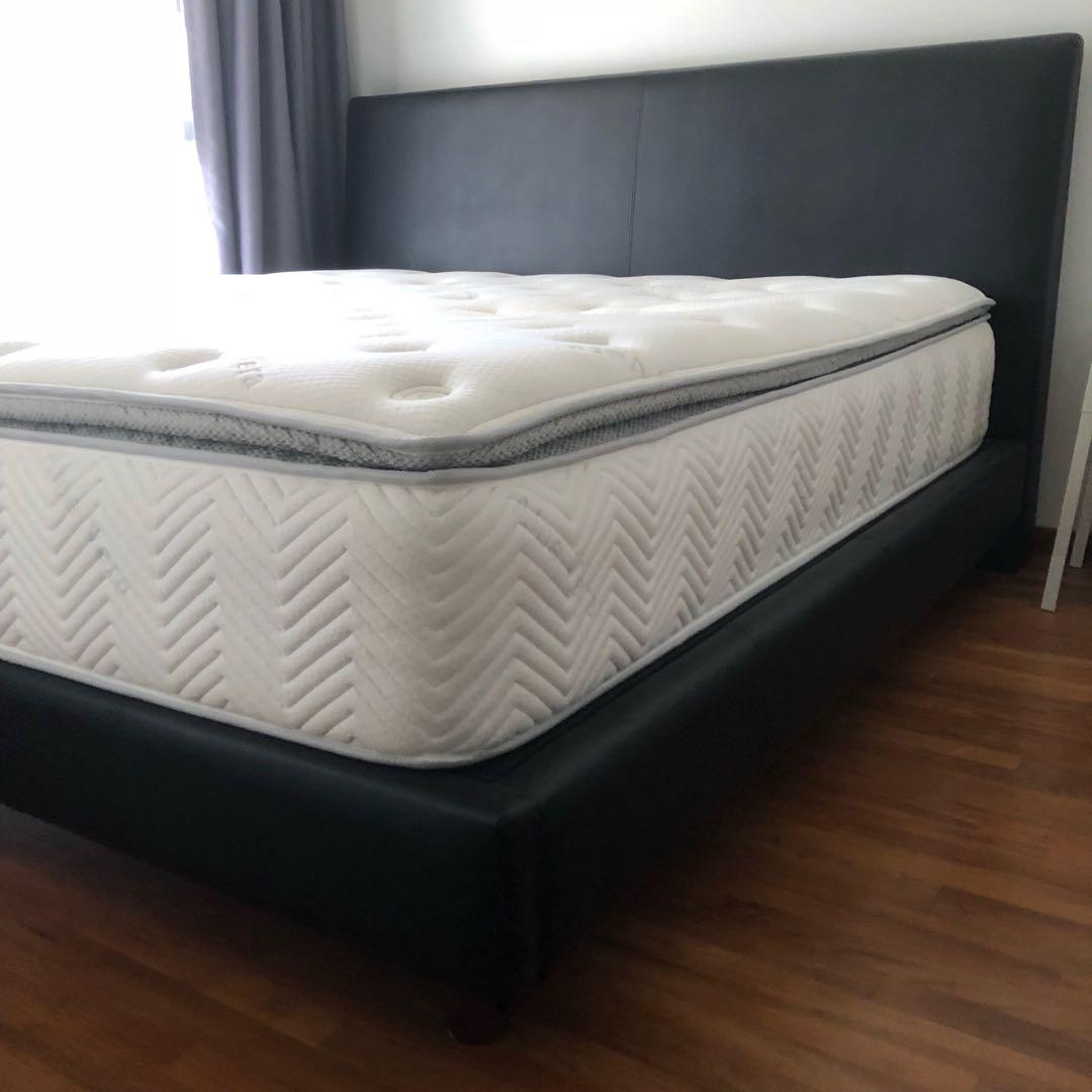 Picture of: King Size Bed Frame Black Leather Furniture Beds Mattresses On Carousell