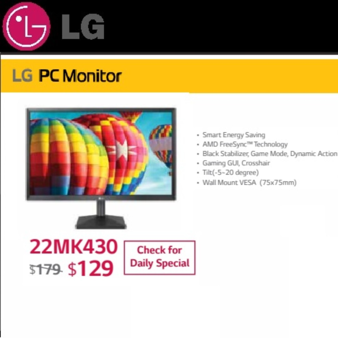 LG 22MK430 PC Monitor  , ( Sales Offer Till   11 Sep 2018  Ends )