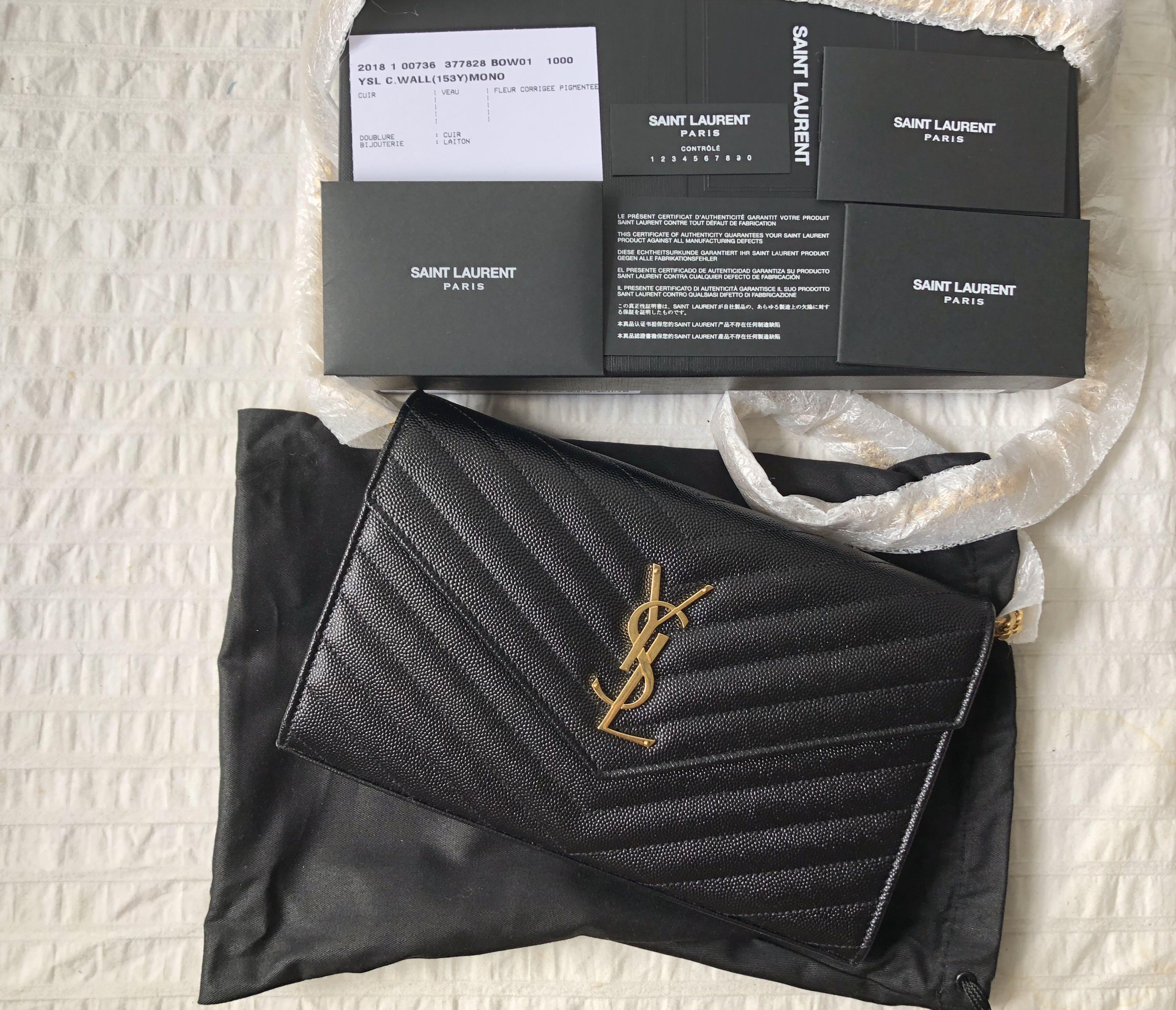 aa23cc4199 New w Receipt] Authentic Large Saint Laurent YSL Wallet On Chain WOC ...