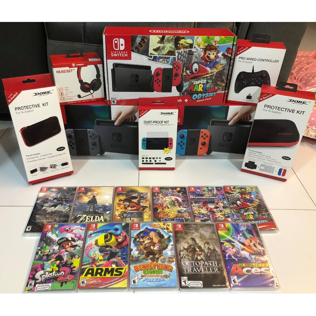 Nintendo Switch Bundle 2 Toys Games Video Gaming Consoles On Grey 2game 2amiibo Carousell