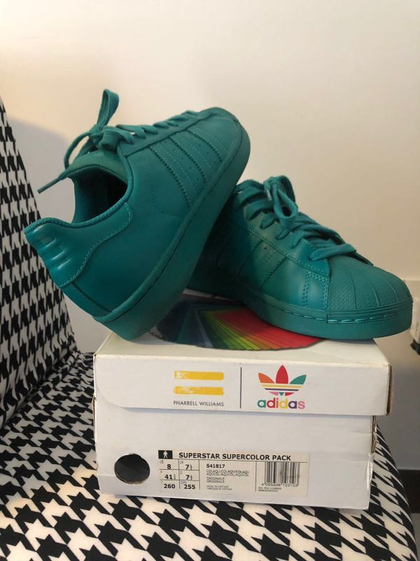 official photos ae1be 51190 Pharrell Williams ADIDAS SUPERSTAR Turquoise, Men s Fashion, Footwear,  Sneakers on Carousell