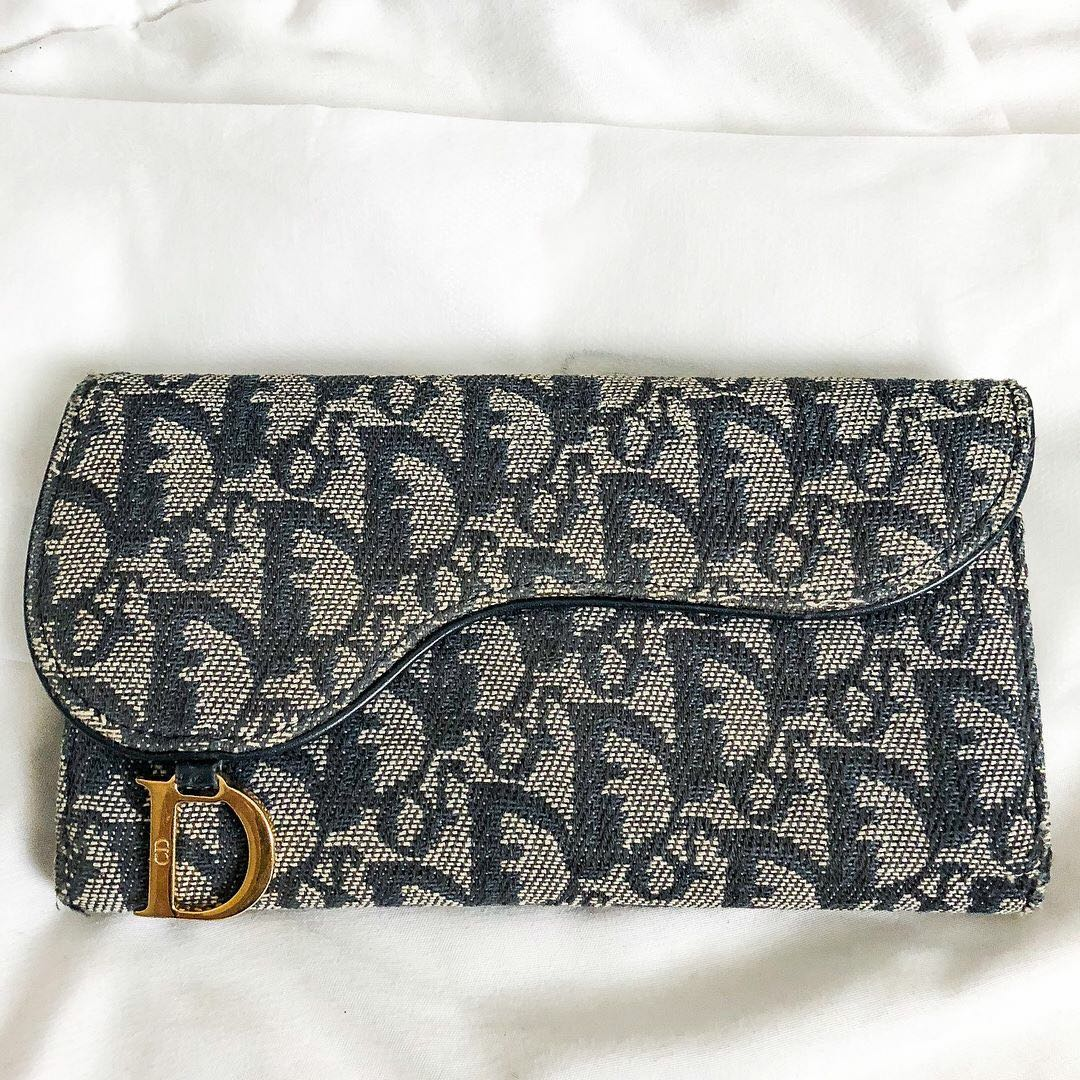 5a47931e3ca8 Preloved christian dior vintage blue diorissimo canvas saddle long wallet luxury  bags wallets on carousell jpg