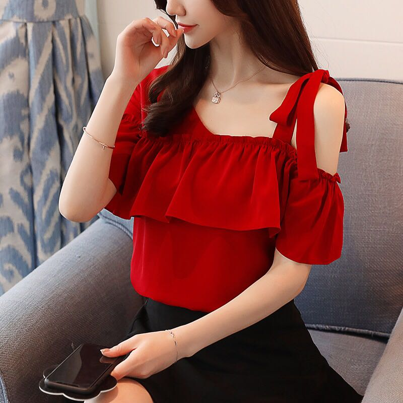 61ed916e169 Red Coloured With One Side Ribbon Straps Off-Shoulders Top, Women's ...