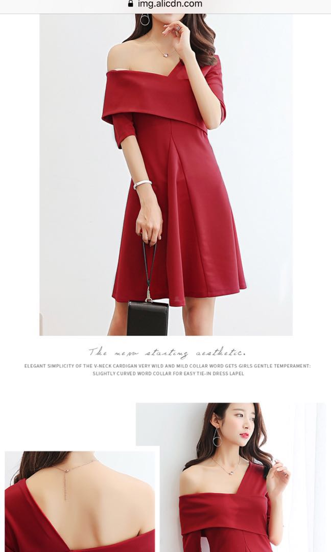 8b2f3ded84 Red off shoulder dress, Women's Fashion, Clothes, Dresses & Skirts ...