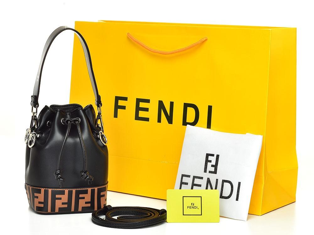 Tas Fendi Mon Tresor Bucket Flocked Mini Hitam AF132 15f26d598a