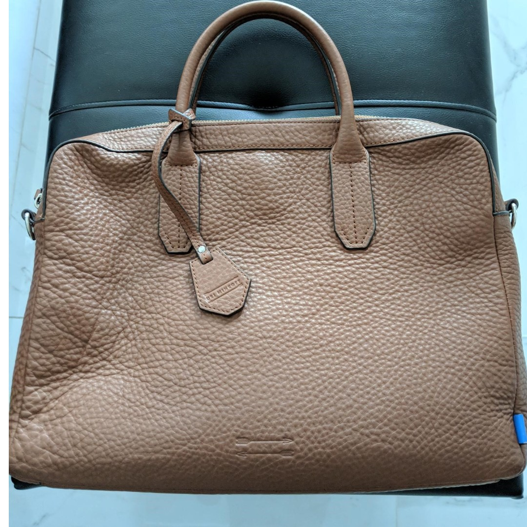 cf23bfa144d8 Uri Minkoff Leather Briefcase (Light Brown)