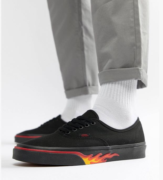 119559cdeeffa8 Vans Classic Authentic Flame Pack in Black