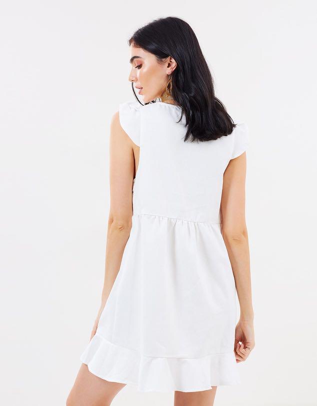 White Frill Hem Dress