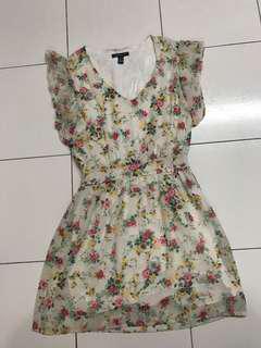 Floral Dress white office vintage wear