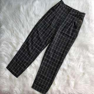 High Waist Black Checked Pants Trousers #under90