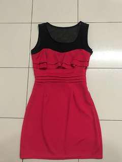 Red black dress office wear