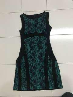Green black lace dress office wear