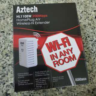 BN SEALED Aztech HomePlug AV Wireless-N Extender