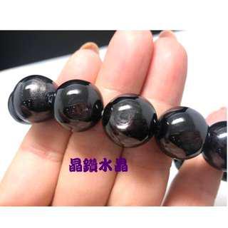 『晶鑽水晶』紫蘇輝石*黑線石~被稱星光黑碧璽 3A等級~都具光芒超亮眼16mm*附禮盒