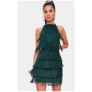 Brand new with tags fringe style emerald green dress