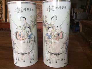 馬慶雲瓷罐一對