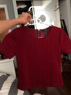 Maroon red wine colour crop top forever 21
