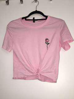 Pink Crop Top with Rose