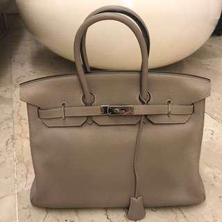 🚚 HERMES 35 Birkin Clemence leather in Gris Tourterell