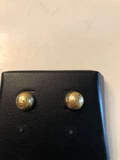 14k gold button stud earrings