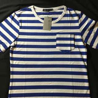 夏天 橫條紋 藍色 Tshirt 男生 L