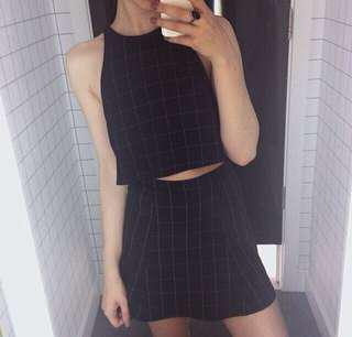AMERICAN APPAREL PRINTED GRID HIGH WAISTED SKIRT