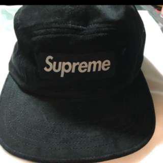 Supreme 五分割帽 麂皮 黑色