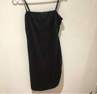 Fashionnova satin black bodycon dress