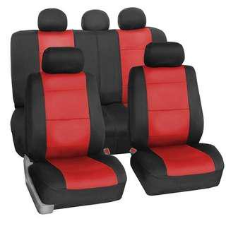 Red and black leather car seat covers. (2 pcs.)
