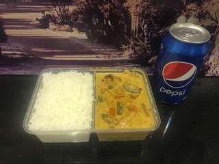 Creamy Chicken with Rice & a Drink