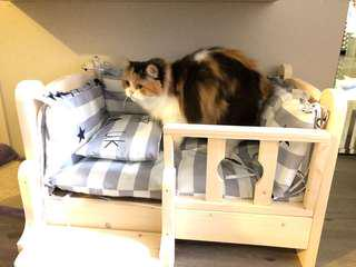 Cat/dog/small animal wooden bed with mattress *preorder
