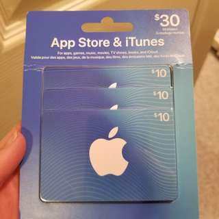 30$ ITunes App store gift cards