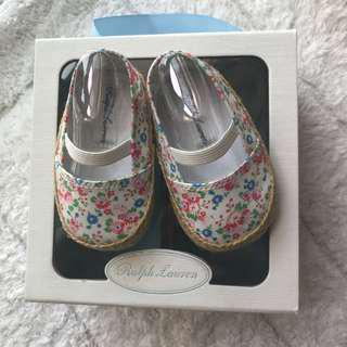 🚚 BN Ralph Lauren Baby Girl Floral Bow Crib Shoes 0-6mths! 10.5cm