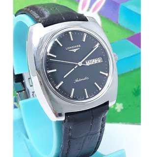 瑞士原裝浪琴(LONGINES)原裝龍頭.星期日期顯示.不鏽鋼自動上鍊古董機械男錶.
