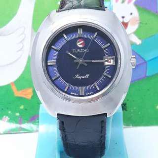師大古董鐘錶--瑞士原裝雷達RADO,日期顯示,,水晶鏡面,原裝龍頭,不鏽鋼自動上鍊古董機械男錶.