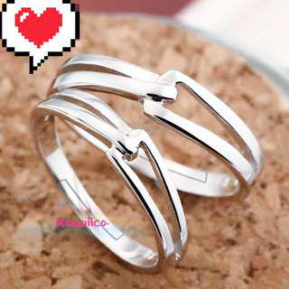 🚚 💕 Simple silver couple ring