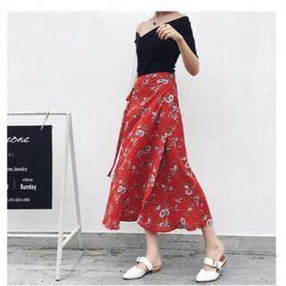 Floral Midi Skirt self-wrap(PRICE⬇️) #under90
