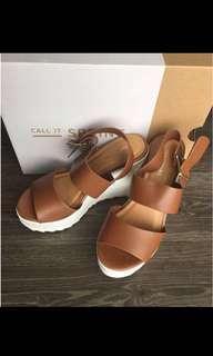 brown wedge block sandals