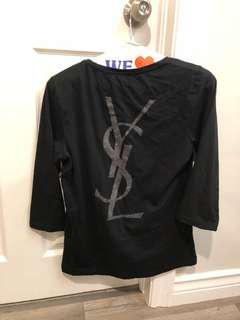 Authentic YSL Yves Saint Laurent black shirt top with logo