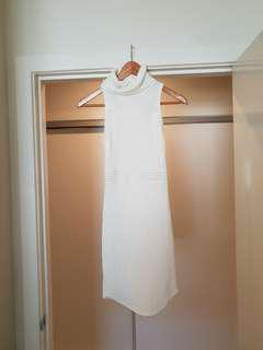 White ribbed high neck dress