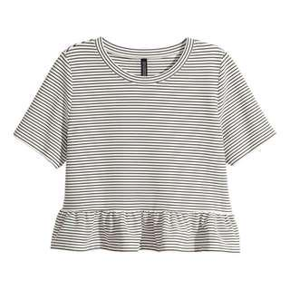 h&m ruffles hem peplum striped top
