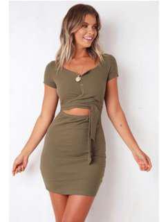 Khaki pop cherry dress size 6-8